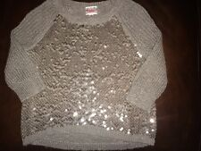 EUC Justice Silvery Gray Sparkle Sweater 3/4 Sleeve (or Elbow) Size 8 10