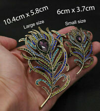 2df8bbc91 PEACOCK Feather Purple Crystal Diamante Rhinestone BROOCH Small and Large