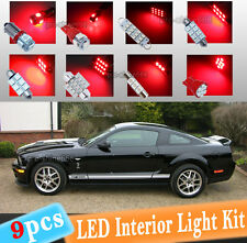 9-pc Xenon Red LED Interior Light Bulbs Package Kit Fit 2005 - 2009 Ford Mustang
