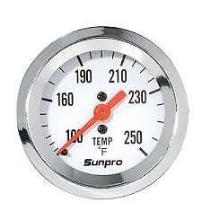 sunpro,chrome  water temp gauge ,rat rod race  circle track ford mopar chevy amc