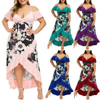 Plus Size Fashion Womens Floral V-Neck Camis Short Sleeve Cold Shoulder Dresses