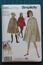 Simplicity Sewing Pattern S0985 Vintage Cape 1960's Size 6 8 10 12 14 New UnCut
