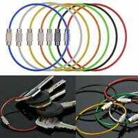 5pcs Stainless Steel Wire Rope Keychain Key Ring Cable For Outdoor Hiking Sport