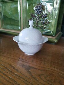 Meissen Wellenspiel Relief Zucker Dose oval 4 Schleifstrich,