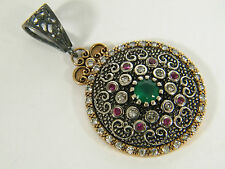 PENDANT: EXQUISITE ANTIQUE VICTORIAN ROUND (7MM) EMERALD RUBY WHITE TOPAZ 925SS