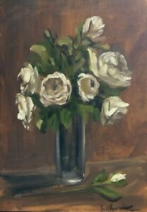 Original oil painting art floral vintage style shabby chic vase of white roses