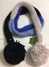 NEW Kate Spade Handknit Colorblock Scarf Pomspoms Both End
