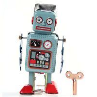 1 pcs Retro Vintage Metal Wind Up Walking ROBOT Mechanical TIN Toy Kids Gift
