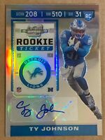 2019 Contenders Optic Prizm Rookie Ticket Auto Ty Johnson #145. Lions Jets
