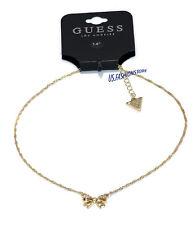 GUESS Kette Necklace Halskette Anhänger Schleife Gold Strass Beauty