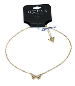 GUESS Kette Necklace Halskette Anhänger Schleife Gold Strass Beauty