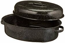 """Cooking Turkey Covered Oval Roaster 18"""" Carbon Steel Roasting Pan Kitchen Meat"""