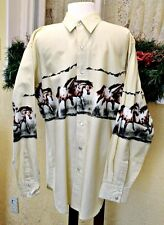 Express Rider L Western Shirt Beige/Multi Horse Border Pearl Snaps Long Sleeve