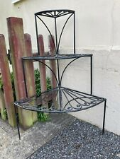 More details for wrought iron 3 tiered corner plant stand