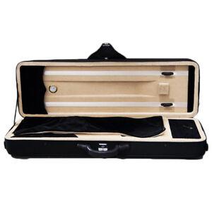 4/4 Full Size Professional Oblong Violin Hard Case w Hygrometer Black/Beige