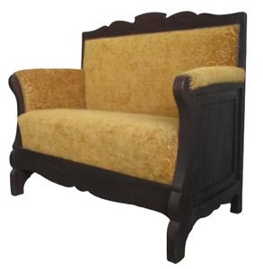 Divano Liberty due posti in pioppo ebanizzato - divanetto primi 900 - sofà