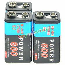 3pcs Durable 9V 9 Volt 600mAh Power Ni-Mh Rechargeable Battery Cell PPS block