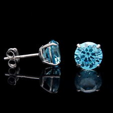 2CT Created Blue Topaz Earrings 14K Real White Gold Round Solitaire Basket Studs