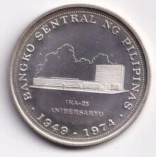 1974 25th Anniversary Banko Sentral ng Pilipinas 1 Piso Philippine Silver PROOF