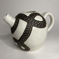 Art Studio Pottery Hand Thrown Small Teapot Gray Snake Swirl Pattern Signed EG
