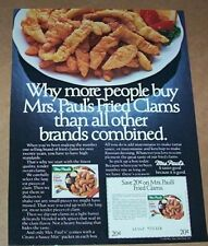 1984 print ad - Mrs Paul's Fried Clams seafood old coupon vintage Advertising