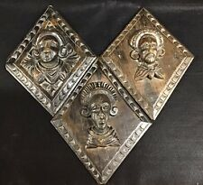 More details for three unusual antique carved oak lozenge shape figure heads ,each 25cm x 20cm