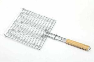 UK Barbecue Grilling Basket Grill BBQ Net Steak Meat Fish Vegetable Holder Tools