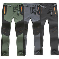 Mens Cycling Winter Trousers Windproof Skiing Hiking Rain Pants Zipper Pocket