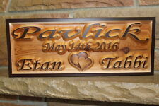 Personalized Custom Wooden Sign Plaque Couple Name Carved Wood Signs Wedding