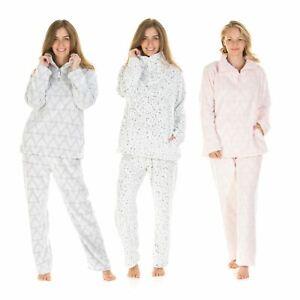 Womens/Ladies Funnel Neck Fleece Pyjamas Pyjama Set Size 10-20