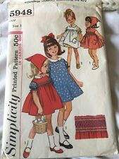 5948 Simplicity Sewing Pattern Baby Girls Dress Pinafore Size 1 Vintage 1960s