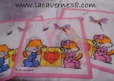 Lot de 3 mouchoirs enfants bord rose 100% coton 23x22cm