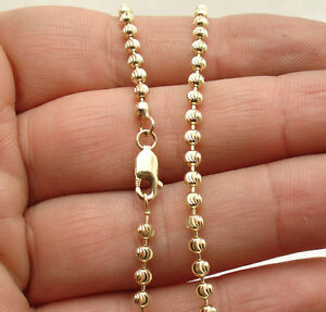 3mm Diamond Moon Cut Chain Charm Anklet Ankle Bracelet Real 14K Yellow Gold