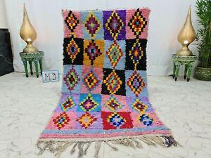 "Vintage Moroccan Handmade Rug 3'4""x6'1"" Berber Geometric Pink Black Cotton Rug"