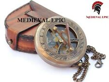 Brass Sundial Compass with Leather Case and Chain - Push Open Compass