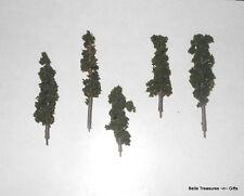 Model Railroad Scenic Fir Trees Ho or N Scale Lichen Leaves & Plastic Trunk 5pc