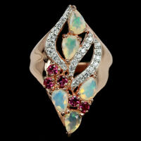 NATURAL RAINBOW OPAL RHODOLITE GARNET & CZ STERLING 925 SILVER RING SIZE 6.75