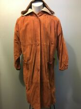 Vtg Womens Leather Coat Suede Hooded Ladies Medium 80s 90s Long Trench Overcoat