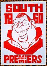 1960 SOUTH MELBOURNE SWANS Night Premiers WEG Poster signed BOBBY SKILTON