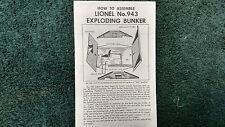 LIONEL # 943 EXPLODING BUNKER INSTRUCTIONS PHOTOCOPY