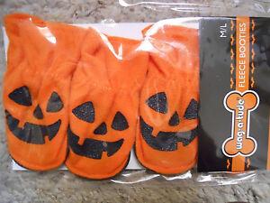 Pumpkin Fleece Dog Booties, brand new, medium size, four booties
