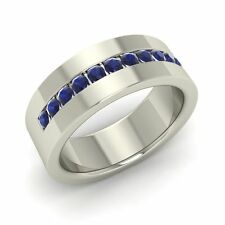 Solid 14k White Gold Men's Wedding Ring / Band with Blue Sapphire-6 mm width