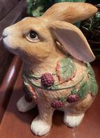 Fitz And Floyd Blackberry  Bunny Rabbit Cookie Jar Easter Decor Retired See Desc