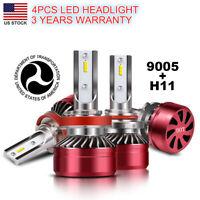 Combo LED Headlight Conversion Kit Hi/Lo 9005+H11 6000K Bulbs x4 JH-272