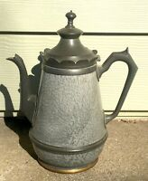 Old Antique Gray Graniteware & Scalloped Pewter Trim - Teapot/Coffee Pot