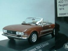 WOW EXTREMELY RARE Peugeot 504 Cabriolet 1974 Brown 1:43 Minichamps-205/404/GTi