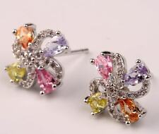 18K White Gold Filled - Hollow Flower Windmill Amethyst Morganite Lady Earrings