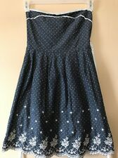 Juniors Poetry Clothing Anthropologie Sundress Sz M Blue Floral Polka Dot Dress