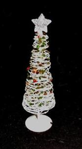 """FESTIVE 10"""" WHITE WIRE XMAS TREE w/MULTI-COLOR SEQUINS/WHITE GLITTER/SILVER STAR"""