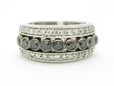 14kt White Gold Genuine White & Black Diamond Bezel Set Wide Band Pave Ring Gift